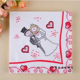 Wholesale Tissue Paper For Packing - Wholesale- SS99,3 packs 60pcs Wedding Napkins Bride and Groom Color Napkin Paper 100% Virgin Wood Tissue for Party Wedding Decoration
