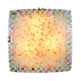 Wholesale Smart Ceiling Lighting - Wholesale-Smart American Country Square Ceiling Lamp With Shell Shape For Balcony or Sitting Room Ceiling Light Home Decorative Lighting