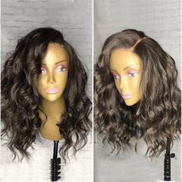 Wholesale Black Bleach - 9A Full Lace Wig With Baby Hair Wave Pre Plucked Human Hair Lace Front Wigs Black Women Brazilian Virgin Lace Wigs Bleached Knots