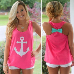 Wholesale Tank Tops Wholesalers For Women - hot Anchor basic Tank Tops Graphic Tee for Women brand designer sexy ladies Sleeveless bow back t shirt Summer round neck vest 3 color