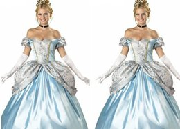 Wholesale Gown Halloween Costumes - Masquerade Ball Gown Cinderella Dress Womens Dress Cinderella Skirt Sexy and Elegant Heart and Backless Snow White Bubble Dress Blue and Wai
