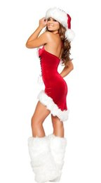 Wholesale Ladies Free Size Dress - Miss Sexy Santa Ladies Christmas Xmas Womens Mrs Fancy Dress lingerie Costume Cosplay + HAT 88678 one size S-L