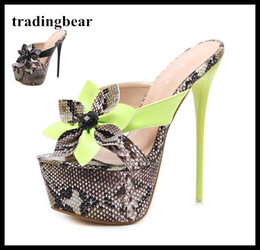 Wholesale Ladies Wedding Slipper Shoes - 2018 adorable flower printed platform shoes 16cm sexy lady ultra high heels slipper green black size 34 to 40