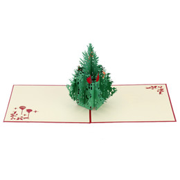 Wholesale Kirigami Christmas Tree - 3D Handmade Folding Christmas Card Pop Up Kirigami Xmas Greeting Postcard with Envelop Christmas Tree Pattern Xmas Accessory