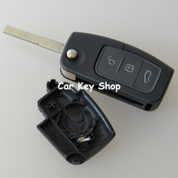 2019 ford fusion keys Cubierta abatible de 3 botones con tapa abatible modificada, sin cortar, cubierta de llavero en blanco para Ford Focus Fiesta C Max Ka con LOGOTIPO