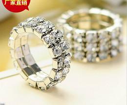 Wholesale Elastic Crystal Toe Rings - 100 pcs Women Girl Rhinestone Band Rings Wedding Bridal Fashion Finger Rings Silver Crystal Toe Ring Elastic Body Jewellery