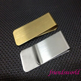 Wholesale Metal Clip Clamp - Stainless Steel Brass Money Clipper Slim Money Wallet Clip Clamp Card Holder Credit Name Card Holder