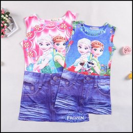 Wholesale Mini Skirt Shirt Sets - 2015 girls frozen Elsa Anna False two set suit kids girl short sleeveless shirt + denim short skirts two fake dresses J071308#