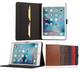 Wholesale Ipad Mini Horse Leather - Flip PU Leater Cover Phone Case with Credit Card Slots Holder for iPad mini 4 Crazy Horse Grain Style