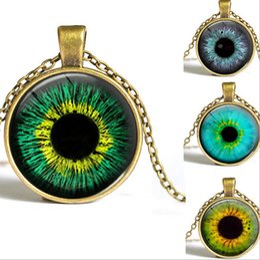 Wholesale glass evil eye necklace - Mix design Evil eyes Art necklace Antique Bronze silver Photo Glass Cabochons Sweater necklace time necklace NE163