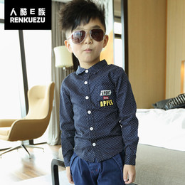 Wholesale Korean Boys Dressing - Wholesale-Boys long-sleeved cotton shirt Zhongshan University Tong Chunqiu dress 2015 Korean version of the new children's shirts 76