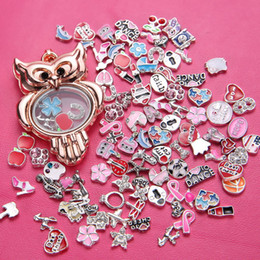 Wholesale Owl Charms Resin - Diy Owl Alloy Floating Charm Locket Round Glass Lockets Jewelry 5 Colors 5PCS Sale DIY Lockets Pendant jewelry