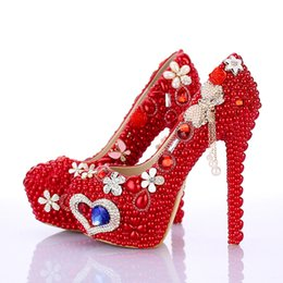 Wholesale Pageant Girl Shoes - Bling Bling Luxurious Pageant Shoes in Red Girl Wedding High Heel Shoes with Pearl Women Crystal Celebrity Party Stilettlo Pumps
