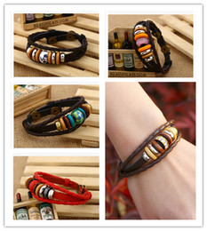 Wholesale Beaded Wooden Bracelet - HOT 2015 new fashion Leather cowhide couple Bracelets layer cowhide alloy wooden beads diamond Bracelets handmade infinity weaving 312