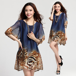 Wholesale Sleeve Leopard Dress - New 2016 loose leopard dress print plus size chiffon summer casual dresses womens work dress vestiti beach vintage jurk 5XL 6XL