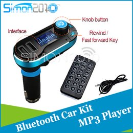 Wholesale Lcd Remote Control Mp3 Player - Wireless T66 MP3 Player bluetooth version Car Kit FM Transmitter With Car Audio Remote Control LCD Display with AUX play