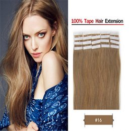 Wholesale Human Hair Blonde 27 - Brazilian Remy PU Skin Weft Human Hair Extension 18-28nch #27 Stawberry Blonde 2.5g pcs,40pcs Top Grade In Stock