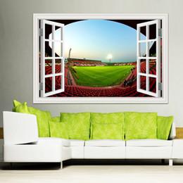 2019 3d ball window sticker Adesivi murali per finestre 3D Decorazioni per la casa Pallone da calcio Campo da giuoco di calcio Paesaggio Carta da parati Murales Adesivo da parete in vinile 3d ball window sticker economici