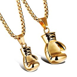 Wholesale Thai Pendants - Stainless Steel 18K Gold Plated Boxing Glove Pendant Necklace Boxer Charm Muai Thai Jewelry Available in 2 Size