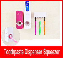 Wholesale Touch Free Wall Dispenser - Touch Me Auto Toothpaste Dispenser Squeezer Brush Holder Hole Set Wall Mount Rose Red and white Free shipping
