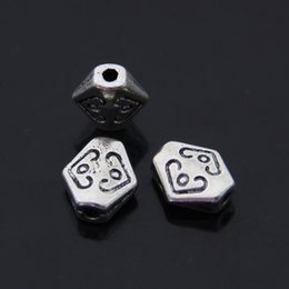 Wholesale Rhombus Beads Free Shipping - Free Shipping 60pcs lot Jewelry components Anique Silver love rhombus Flat Hole Beads Material 7*10mm