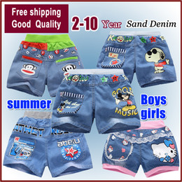 Wholesale Wholesale Little Boys Jeans - Wholesale-Free shipping 2015 new fashion gift summer clothing boys and girls jeans little cartoon boy