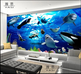 Wholesale Wallsticker Living Room - New can be customized large 3D mural art wallpaper home decor Personality visual,Ocean scenery Nonwoven fabric wallsticker dolphins shark