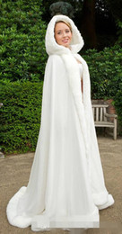 Wholesale Long Fur Trimmed Wedding Cape - 2015 Winter White Wedding Cloak Cape Hooded with Fur Trim Long Bridal Jacket Free Shipping women dress jacket