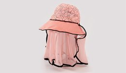 Wholesale Wholesale Tie Dye Veil - Embroidered women sun hat foldable with veil 10cm width brim suncare summer hat face and neck guard female hat beige light pink