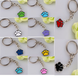 Wholesale Enamel Paw Charms - 10 Color Choice Enamel Silver Tone Dog Cat Paw Print Charm Pendant Decorative Key Chain Ring Keychain Gifts 20pcs