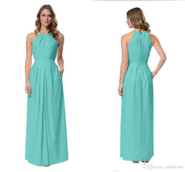 Wholesale Turquoise Long Halter Dress - 2017 Turquoise Bridesmaids Dresses Custom Made Floor Length Modest Junior Bridesmaid Dresses Simple A Line Halter Zipper Back Floor Length