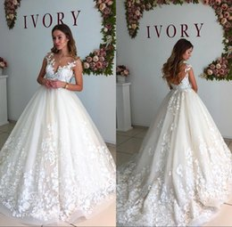 Wholesale Low Back Custom Wedding Dress - Sheer Cap Sleeves Lace A Line Wedding Dresses 2018 Vintage Crew Neck Tulle Applique Low Back Wedding Gowns Country Garden Bridal Gowns