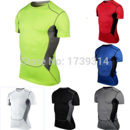 Wholesale Mens Compression Wear - Wholesale-HOT!Mens Sports Compression Wear Under Pro Base Layer Short Sleeve T-Shirts Athletic