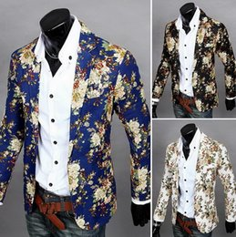 Wholesale Mens Casual Fashion Blazer - fashion men Blazer Jackets mens slim fit printed blazers casual men's floral small suit coat M-2XL
