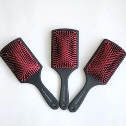Cerdas de plástico online-Mango del cepillo de pelo del peine de plástico superior calidad con goma recubiertos de cerdas de jabalí Cepillo de pelo extensiones de cabello herramientas de envío gratis
