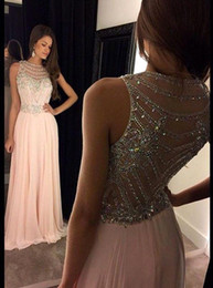Wholesale Chiffon Column Dress - 2016 Long Crystal Chiffon Prom Dresses Sexy Sheer Scoop Beaded Neckline Sleeveless Illusion Back Floor Length Evening Dresses Formal BA1307