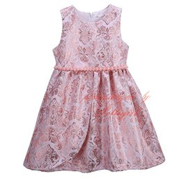 elegantes vestidos de perlas de color rosa Rebajas Pettigirl Girls Elegant Flower Dress Pink O-Neck Niños Vestidos chaleco con perlas Venta al por mayor Ropa de niños GD81125-335F