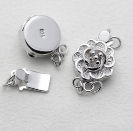 Wholesale Double Rows Pearl Necklace - Hot sale 925 silver double row plum blossom shape pearl necklace bracelet connection buckle YPJ3