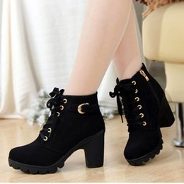 Wholesale European Buckle Boots - 2015 New Women Pumps European PU Leather Boots Ladies High Heel Fashion Motorcycle Boots Women Shoes