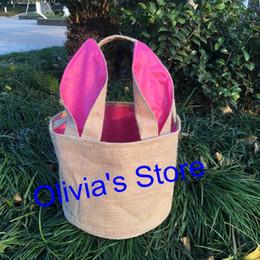 Sac à main en gros en Ligne-En gros adroable personnalisé monogramme de Pâques toile de jute panier bunny bucket 5 couleurs mélangés enfants cadeau bonbons sacs fourre-tout