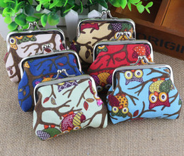 Wholesale Owl Canvas - New cartoon owl coin purses lady canvas small coin purses