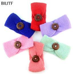 Wholesale Vintage Crochet Buttons - 10pcs  Lot Newborn Crochet Fashion Headband With Vintage Wooden Button Knitted Winter Warm Turban Girl Solid Headwear