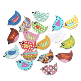 """Wholesale Random Buttons - Wood Sewing Button Scrapbooking Bird At Random Two Holes Pattern 23.0mm( 7 8"""") x 16.0mm( 5 8""""), 100 PCs 2015 new"""