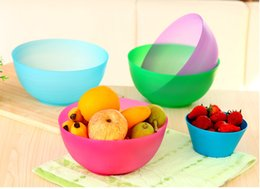 Wholesale Plastic Salad Containers - colorful household rice bowl plastic bowls soup salad vegetable fruit bowls durable food container kitchen tableware