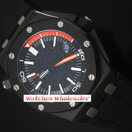 Wholesale Swiss Movement Dive Watches - AAA brand luxury fashion watches offshore diving Swiss automatic movement calendar time watches rubber strap black dial luminous