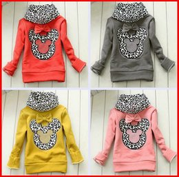 Wholesale Girls Winter Coats Minnie - 2016 winter baby leopard pop elements turtleneck pullover girl minnie thick base shirt girl coat baby autumn Minnie sweaters sweater melee
