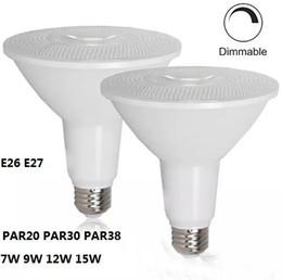 Wholesale E26 Led Flood - PAR20 PAR30 PAR38 LED Bulb Light Dimmable LED Flood Lights Bulb Indoor Outdoor Lighting E26 E27 LED Spotlight 7W 9W 12W 15W LLFA