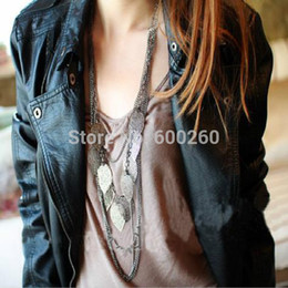 Wholesale multi layer long necklaces - Wholesale-Hot sales Bohemian Necklace Vintage Leaves Multi-layer Alloy Bohemia Long Necklace Silver Gold Pendant Chain Fashion Jewelry