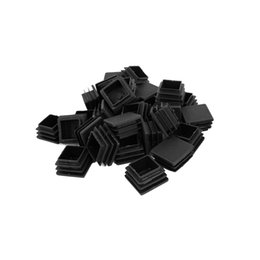 black chairs Coupons - Wholesale- Durable Plastic Square Tube Inserts End Blanking Table leg Caps Chair Floor Feet Cap Protector 30mm x 30mm 30 Pcs Black