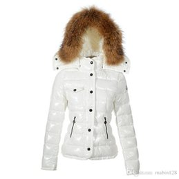 Wholesale Short Down Jacket Hood - New Hot Sale womens down jacket fur hood Fashion short brand winter warm jacket coat outdoor white duck down jacket female